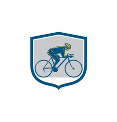 Cyclist riding mountain bike shield retro vector