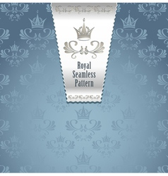 Royal seamless pattern with crown or royal blue ba vector