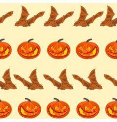 Halloween seamless texture pumpkin and bat vector