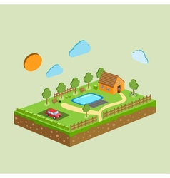 Piece of land and sky with objects vector