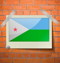 Flags djibouti scotch taped to a red brick wall vector