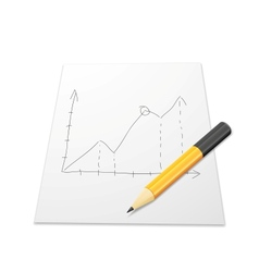 White paper with graph and pencil vector