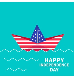 Boat happy independence day us of america vector