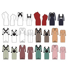 Set of womens dresses vector