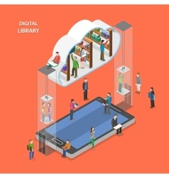 Digital library flat isometric concept vector