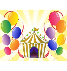 Balloons with a circus tent at the center vector