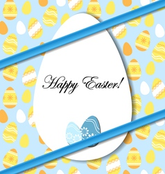 Easter card with egg and blue bow vector