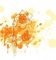 Narcissus grunge background vector