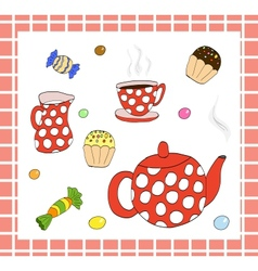 Tea set with sweets vector