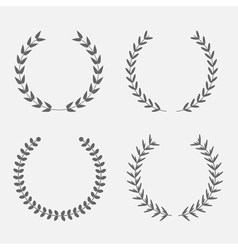Set of silhouette round laurel foliate wheat wreat vector