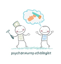 Psychoneuropathologist speaks with the patient on vector