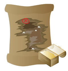 Gold and treasure map vector
