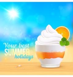 Summer creamy dessert on sunny beach vector