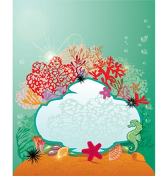 Frame and coral reef and marine life - underwater vector