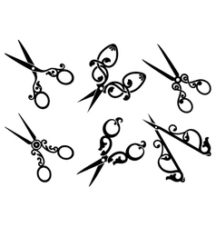 Set of retro scissors vector