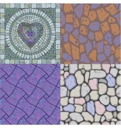 Set of floor stone textures vector