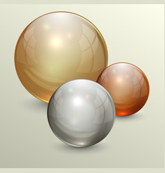 Golden transparent globes on light background vector