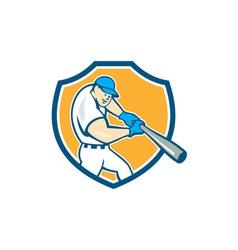 American baseball player batting shield cartoon vector