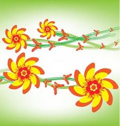 Orange flowers and happy butterflies vector