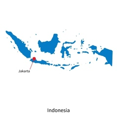 Detailed map of indonesia and capital city jakarta vector