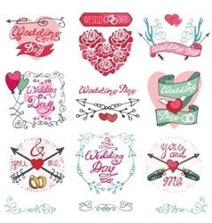 Wedding emblems setinvitationslabelsdecor vector