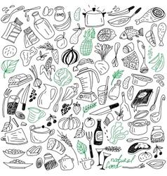 Natural food doodles vector