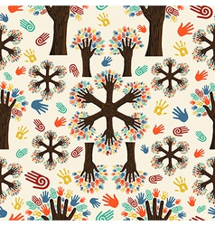 Diversity tree hands pattern vector