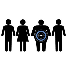 Diabetes targeting overweight people vector