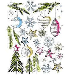 Christmas decorative hand draw elemants vector
