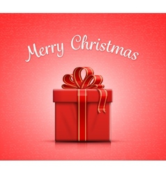 Red gift box with ribbon and bow vector