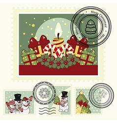 Series of stylized christmas post stamps vector