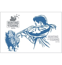 Hunter and boar - vintage vector