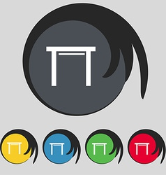 Stool seat icon sign symbol on five colored vector