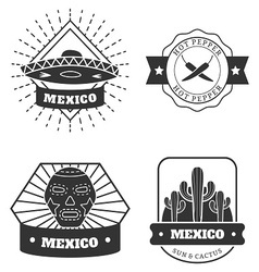 Set of the mexican monochrome emblems vector