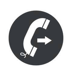 Monochrome round outgoing call icon vector