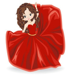 Brunette girl in red evening dress vector