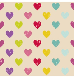 Retro seamless pattern with hearts vector