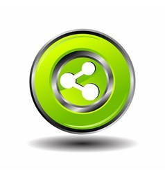 Green glossy share button vector