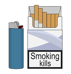 Open cigarettes pack with gas lighter color vector