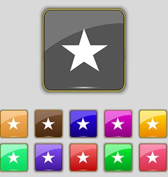 Star favorite icon sign set with eleven colored vector