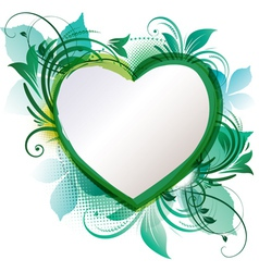 Green floral heart background vector