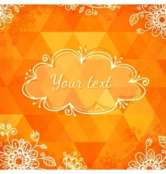 Orange triangles with doodle flowers vector