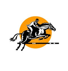Equestrian show jumping retro vector