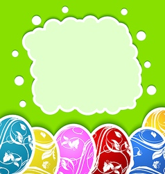 Easter card with set colorful ornate eggs vector