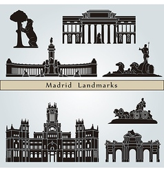 Madrid landmarks and monuments vector