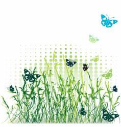 Grass silhouette green summer background vector