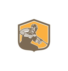 Pressure washer cleaner worker shield retro vector