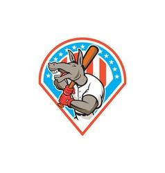 Donkey baseball player batting diamond cartoon vector