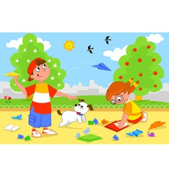 Kids playing with airplanes vector