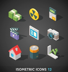 Flat isometric icons set 12 vector